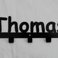 Thomas personalised decorative silhouette hook in black. 5 hooks