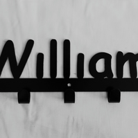 William personalised decorative silhouette hook in black. 5 hooks