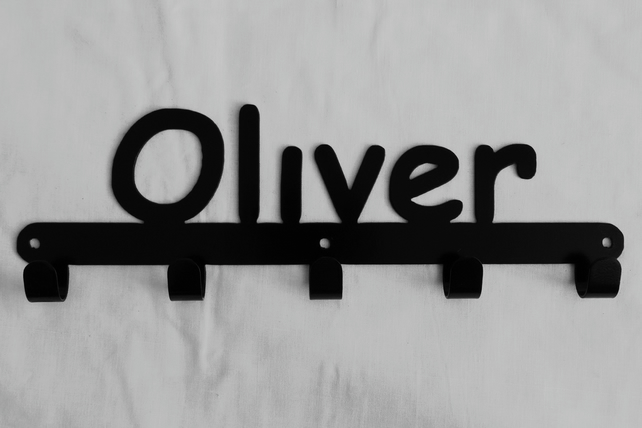 Oliver personalised decorative silhouette hook in black. 5 hooks