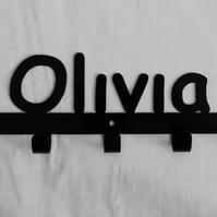Olivia personalised decorative silhouette hook in black. 5 hooks