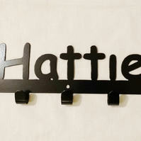Hattie personalised decorative silhouette hook in black. 5 hooks