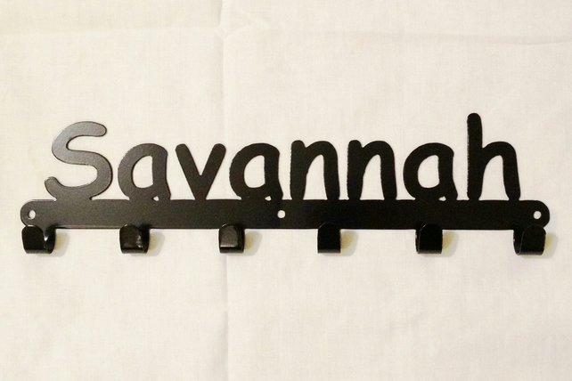 Savannah personalised decorative silhouette hook in black. 6 hooks