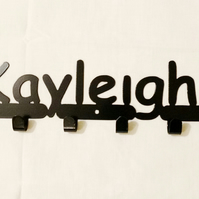 Kayleigh personalised decorative silhouette hook in black. 6 hooks