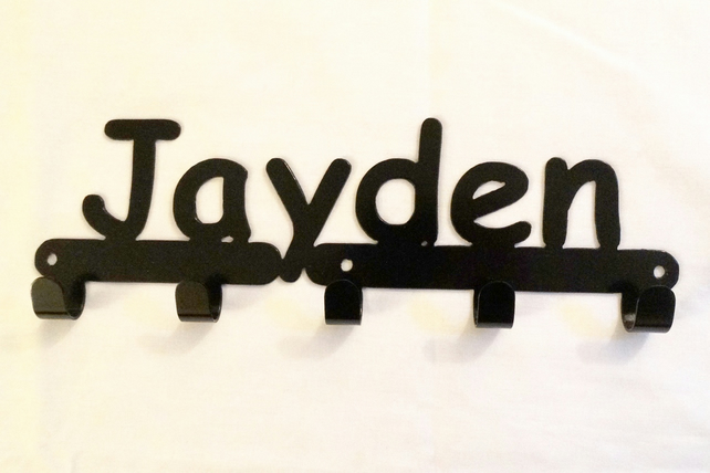 Jayden personalised decorative silhouette hook in black. 5 hooks