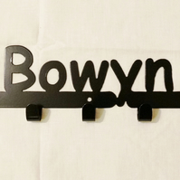 Bowyn personalised decorative silhouette hook in black. 5 hooks