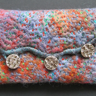 Unique hand stitched felt boho clutch bag in blues and browns