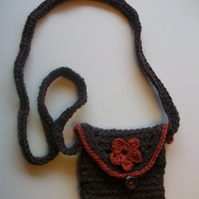 Dainty brown crochet  festival shoulder  purse