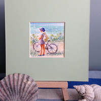 "Small original painting of lady with bike- ""Cycling Along the Coastal Path!"""