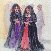 Original Watercolour Goth  ACEO