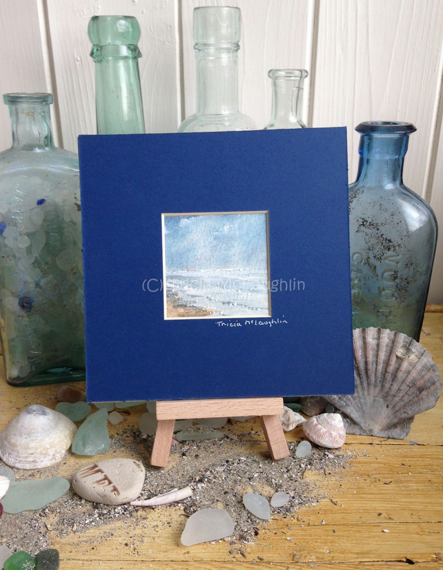 "Tiny Seascape 5""x5"" in a dark blue mount"