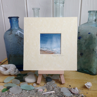 "Tiny Seascape 5""x5"" in a cream mount"