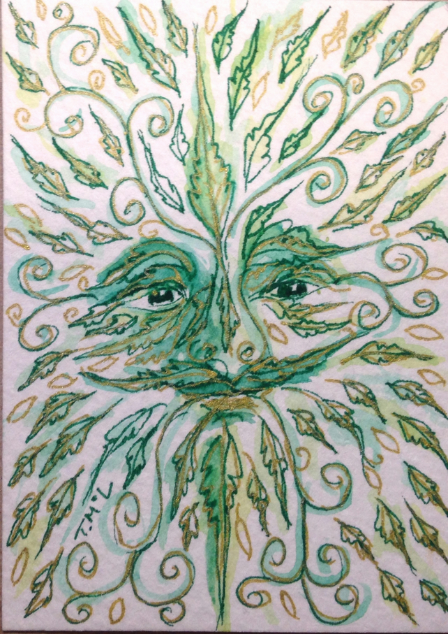 Green Man original ACEO