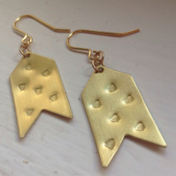 Brass Chevron Drop Earrings with Triangle Design - Frida Kahlo - Geometric -