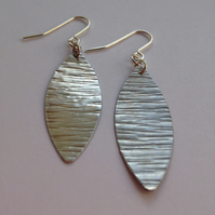 Aluminium Leaf Long Drop Earrings on Silver Plated Ear Wires - Geometric - Frida