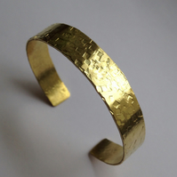 Slim Adjustable Brass Cuff - Hammered -Textured - Gold - Stacking - Stacker