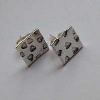 Modern Geometric Square Sterling Silver Studs - Geometric - Simple - Gift