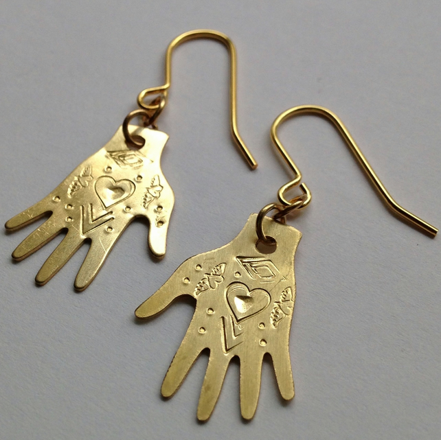Brass Hand Frida Kahlo Inspired Earrings - Heart Design