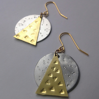 Geometric Brass & Aluminium Earrings - Silver - Gold - Modern - Simple -
