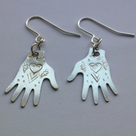 Frida Kahlo Inspired Silver Tone Hand Earrings - Heart Design