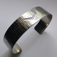 Stainless Steel Chevron Cuff Bangle - Silver - Modern - Simple - Bracelet