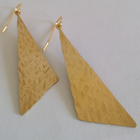 Long Triangle Brass Earrings - Gold - Geometric - Statement