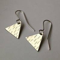 Tiny Weeny Silver Plated Triangle Earrings