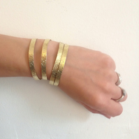 Hammered Brass Slim Cuff - Textured - Gold - Stacking - Stacker - Gypsy - Frida