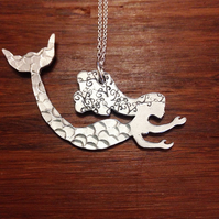 Hand stamped Aluminium Mermaid Necklace - Festival - Sea - Mythical - Swimming -
