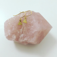 Tiny Weeny Brass Triangle Earrings - Small -Geometric - Everyday - Cute - Stars