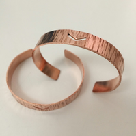 Hammered Copper Adjustable Cuff with Chevron Design - stacker - stacking -
