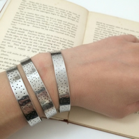 Stainless Steel Spotty Cuff - Adjustable - Cuff - Stacking - Bangle - Boho -