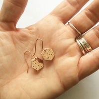 Spotty Geometric Copper Earrings - Hexagon - Minimalist - Handmade -