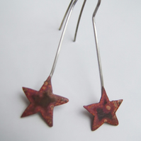 TINY RECYCLED COPPER STARS ON SILVER HOOKS