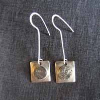 SILVER MODERNIST DANGLE EARRINGS