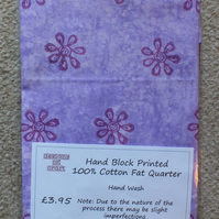 Fat Quarter 100% Cotton Hand Block Printed Unique Design - Lilac
