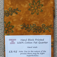 Fat Quarter 100% Cotton Hand Block Printed Unique Design - Mustard