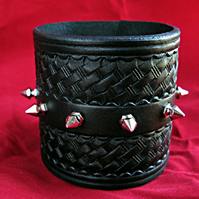 Handmade Leather Wristband with Spikes