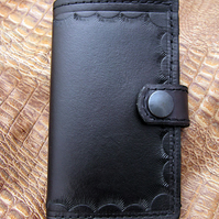 Handmade Black Leather Long Wallet