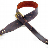 Handmade Brown Leather Banjo Strap