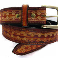 Handmade Brown Leather Belt With Solid Brass Buckle