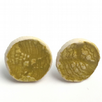 Chartreuse yellow Ceramic Earrings