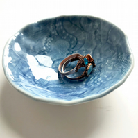Blue Porcelain Trinket Dish