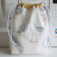 Large Toiletry - Wash Bag - Waterproof Lining - Cotton Canvas - Comic Seagulls