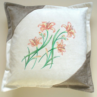"16"" x 16"" Cushion Cover with Day Lily Spray Embroidery"