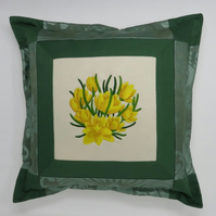 Embroidered Cushion with Yellow Crocus