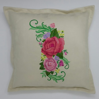 Embroidered Cushion with Rose Spray design