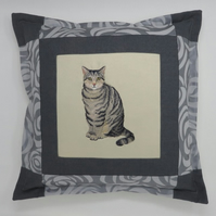 Cushion with Tabby Cat Embroidery
