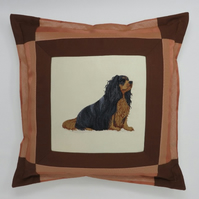 Cushion with Cavalier King Charles Spaniel Embroidery