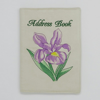 Address Book with Purple Iris Embroidery