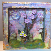 Fantasy Floral Scene with Bunnies, 3D Box Frame